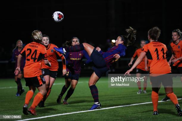 Alexia Putellas of Barcelona attempts an over head kick during the UEFA Women's Champions League Round of 16 2nd Leg match between Glasgow City and...