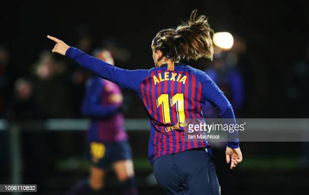 Alexia Putellas of Barcelona celebrates after she scores her team's second goal during the UEFA Women's Champions League Round of 16 2nd Leg match...