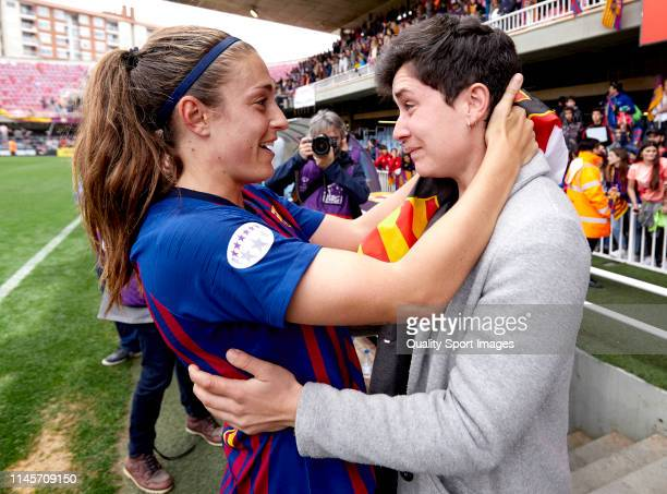 Alexia Putellas of FC Barcelona and Laura Rafols celebrating the victory at the UEFA Women's Champions League semi final second Leg match between FC...