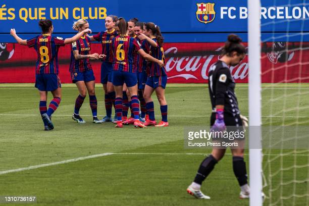 Alexia Putellas of Fc Barcelona celebrates a goal during the Spanish Women league, Primera Iberdrola, football match played between FC Barcelona and...