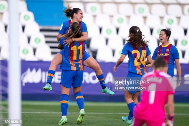 Alexia Putellas of FC Barcelona celebrates after scoring his team's first goal during the Copa de la Reina Semifinal match between Madrid CFF and FC...