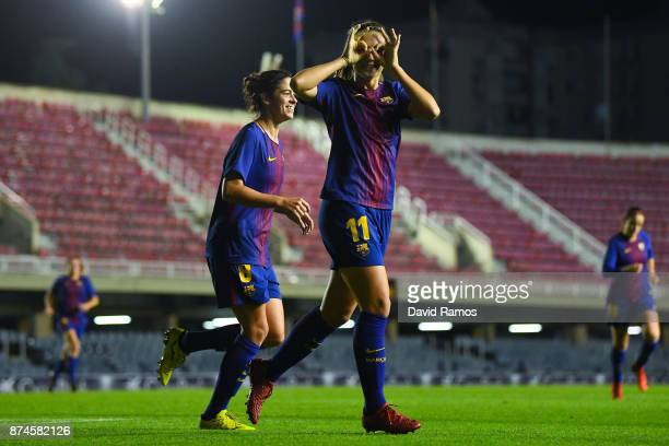 Alexia Putellas of FC Barcelona celebrates after scoring the opening goal during the UEFA Womens Champions League Round of 16 second leg match...
