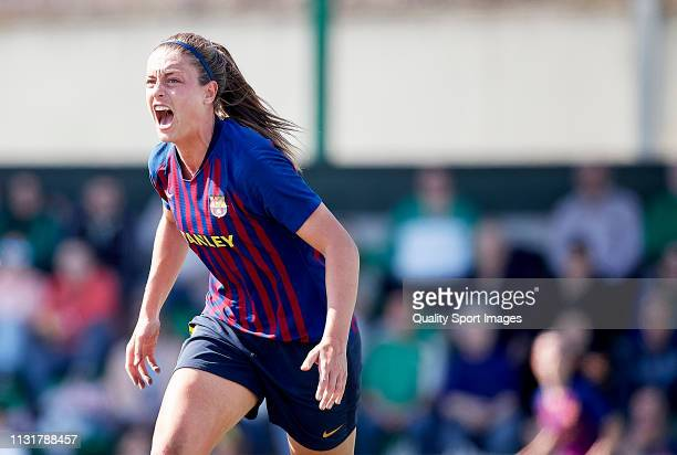 Alexia Putellas of FC Barcelona celebrates scoring her team's opening goal during the La Liga Iberdrola first division match between Real Betis...