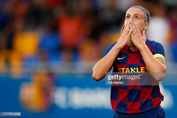 Alexia Putellas of FC Barcelona celebrates scoring the opening goal in the 32th minute during the Women'S UEFA Champions League 1/16 second leg match...