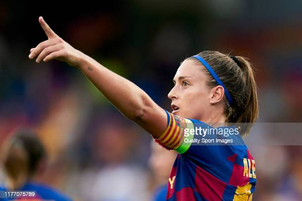 Alexia Putellas of FC Barcelona celebrates their team's first goal during the UEFA Women's Champions League between Barcelona and Juventus on...