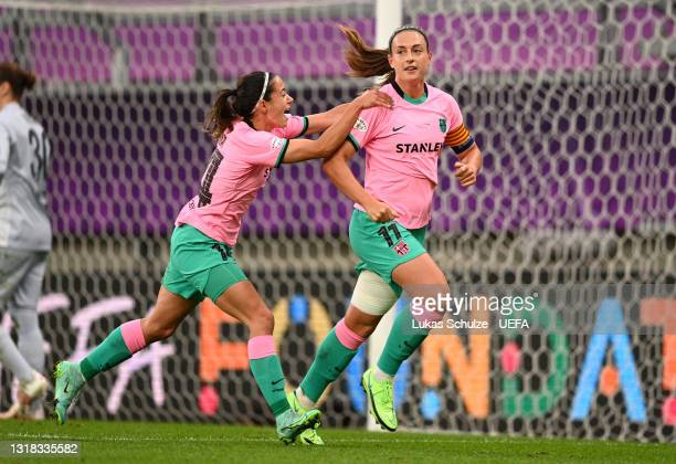 Alexia Putellas of FC Barcelona celebrates with Maria Leon after scoring their team's second goal from the penalty spot during the UEFA Women's...
