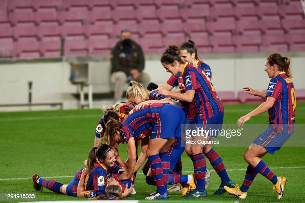 Alexia Putellas of FC Barcelona celebrates with teammates after scoring the opening goal during the Primera Iberdrola match between FC Barcelona and...