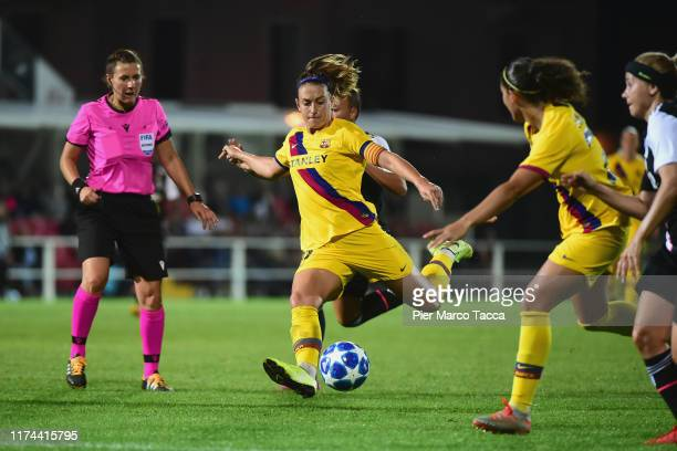 Alexia Putellas of FC Barcelona in action during the Women's Champions League round of 32 match between Juventus and Barcelona at Stadio Giuseppe...