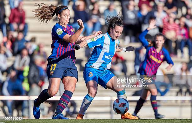 Alexia Putellas of FC Barcelona pressures Paula Moreno of RCD Espanyol during the Iberdrola Women's First Division match between FC Barcelona and RCD...