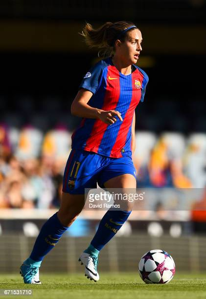 Alexia Putellas of FC Barcelona runs with the ball during the UEFA Women's Champions League first leg semifinal match between FC Barcelona and Paris...