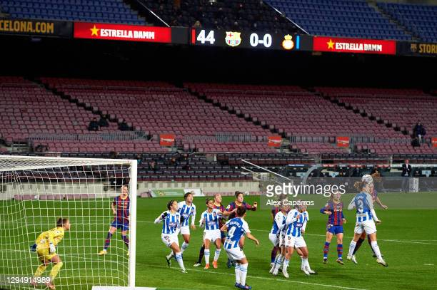 Alexia Putellas of FC Barcelona scores the opening goal during the Primera Iberdrola match between FC Barcelona and RCD Espanyol at Camp Nou on...
