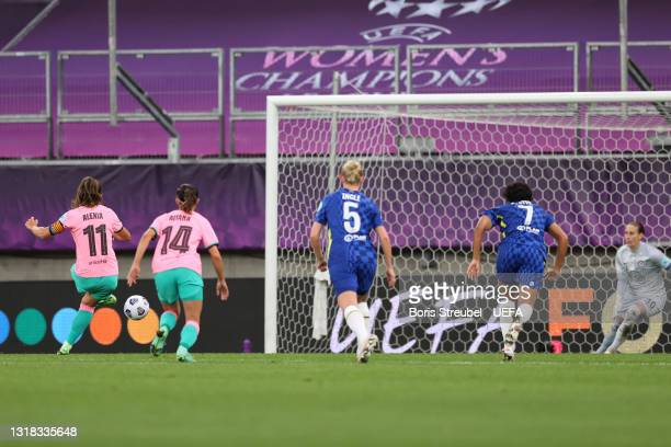 Alexia Putellas of FC Barcelona scores their team's second goal from the penalty spot during the UEFA Women's Champions League Final match between...