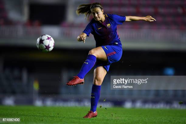 Alexia Putellas of FC Barcelona shoots towards goal during the UEFA Womens Champions League Round of 16 second leg match between FC Barcelona and...