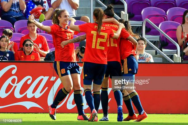 Alexia Putellas of Spain celebrates a goal during a match against Japan at the SheBelieves Cup at Exploria Stadium on March 05, 2020 in Orlando,...