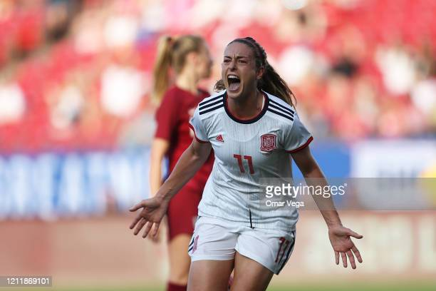 Alexia Putellas of Spain celebrates after scoring the first goal for her team during a match between England and Spain as part of 2020 SheBelieves...