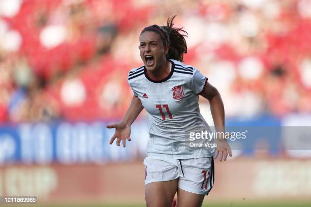 Alexia Putellas of Spain celebrates after scoring the first goal for her team during a match against England as part of 2020 SheBelieves Cup at...