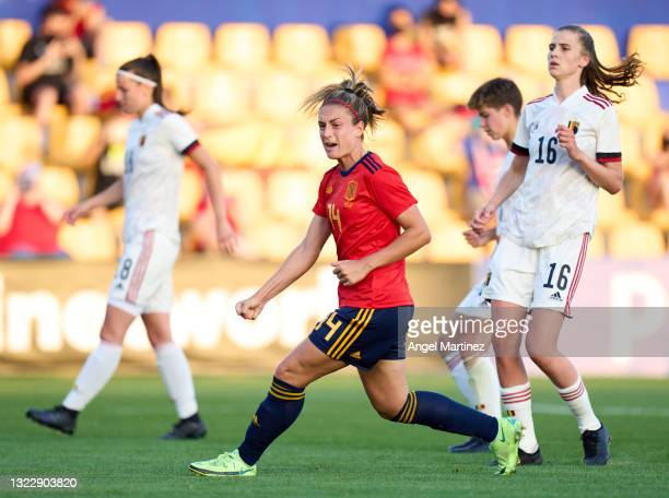 Alexia Putellas of Spain celebrates after scoring their side's second goal from penalty spot during the Women's International Friendly match between...