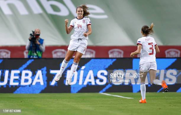 Alexia Putellas of Spain celebrates her team's fourth goal with team mate Ainhoa Moraza during the UEFA Women's EURO 2022 qualifier match between...