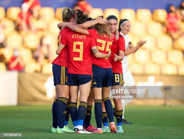 Alexia Putellas of Spain celebrates with team mates after scoring their side's second goal from penalty spot during the Women's International...