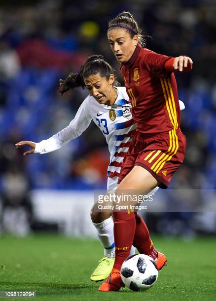 Alexia Putellas of Spain competes for the ball with Christen Press of The United States during the Women's International Friendly match between Spain...