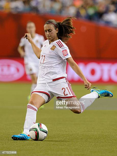 Alexia Putellas of Spain kicks the ball during the 2015 FIFA Women's World Cup Group E match against Brazil at Olympic Stadium on June 13 2015 in...