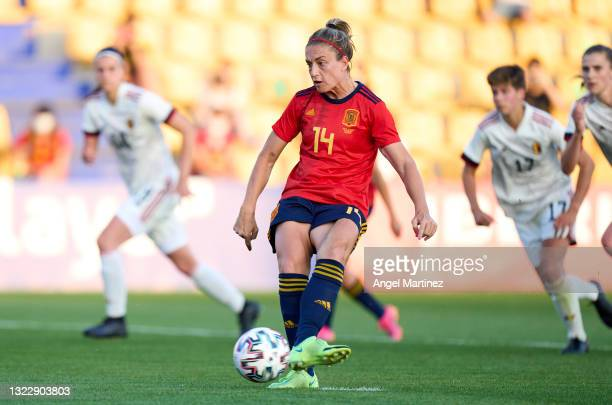 Alexia Putellas of Spain scores their side's second goal from penalty spot during the Women's International Friendly match between Spain and Belgium...