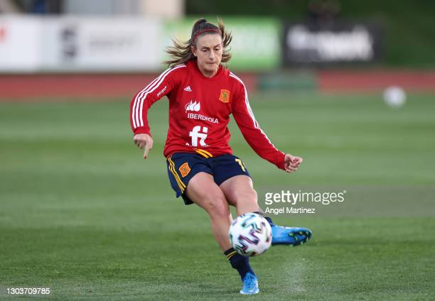 Alexia Putellas of Spain warms up ahead of the UEFA womens Euro qualifying draw, group D match between Spain and Poland on February 23, 2021 in...