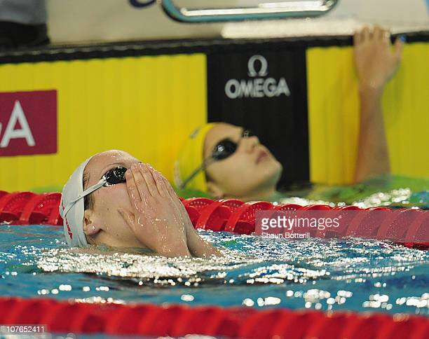 Alexianne Castel of France wins the gold medal in the final of the Women's 200m Backstroke during the 10th FINA World Swimming Championships at the...