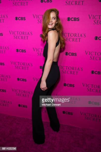 Alexina Graham attends the 2017 Victoria's Secret Fashion Show viewing party pink carpet at Spring Studios on November 28 2017 in New York City