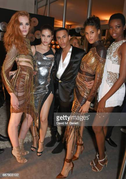Alexina Graham Barbara Palvin Olivier Rousteing Cindy Bruna and Maria Borges attend the L'Oreal Paris Cinema Club party celebrating L'Oreal's 20th...