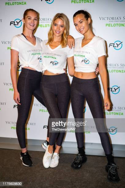 Alexina Graham Martha Hunt and Josephine Skriver attend Angel Cycle at Flywheel on September 18 2019 in New York City