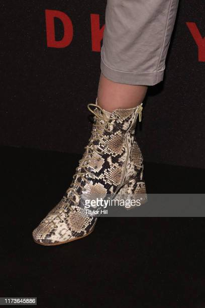 Alexina Graham shoe detail attends the party celebrating the 30th anniversary of DKNY at St Ann's Warehouse on September 09 2019 in New York City