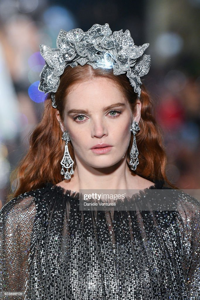 Alexina Graham walks the runway at the Dolce & Gabbana show during Milan Fashion Week Fall/Winter 2018/19 on February 24, 2018 in Milan, Italy.