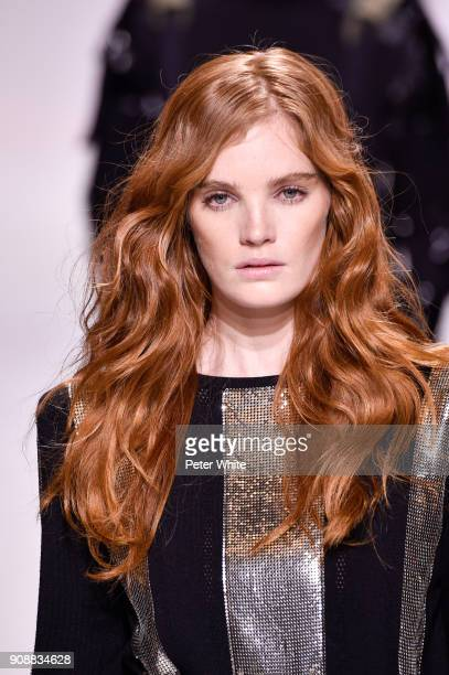 Alexina Graham walks the runway during the Balmain Homme Menswear Fall/Winter 20182019 show as part of Paris Fashion Week on January 20 2018 in Paris...