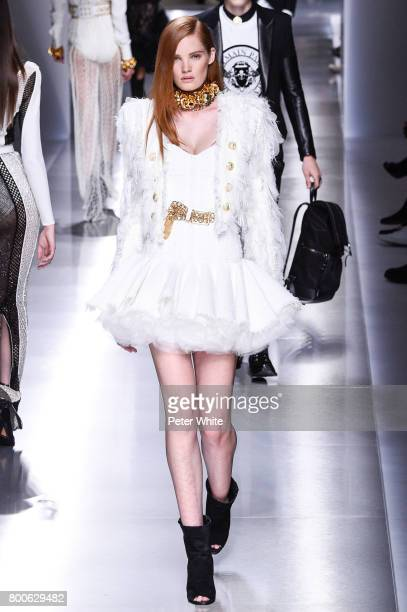 Alexina Graham walks the runway during the Balmain Menswear Spring/Summer 2018 show as part of Paris Fashion Week on June 24 2017 in Paris France