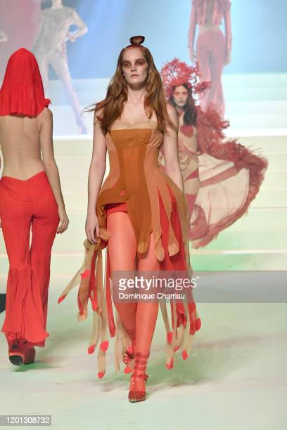 Alexina Graham walks the runway during the Jean-Paul Gaultier Haute Couture Spring/Summer 2020 show as part of Paris Fashion Week at Theatre Du...