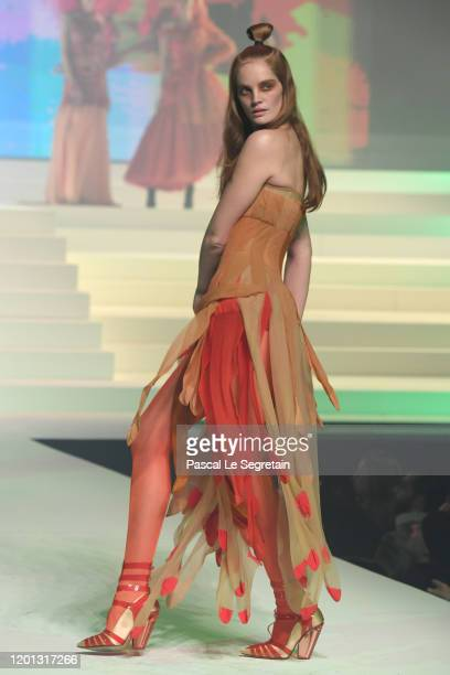 Alexina Graham walks the runway during the JeanPaul Gaultier Haute Couture Spring/Summer 2020 show as part of Paris Fashion Week at Theatre Du...