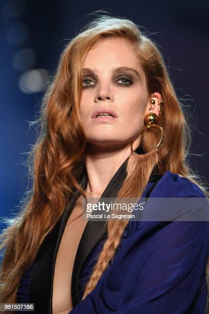 Alexina Graham walks the runway during the JeanPaul Gaultier Haute Couture Fall Winter 2018/2019 show as part of Paris Fashion Week on July 4 2018 in...