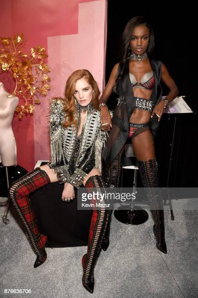 Alexinia Graham and Leomie Anderson pose backstage during 2017 Victoria's Secret Fashion Show In Shanghai at MercedesBenz Arena on November 20 2017...