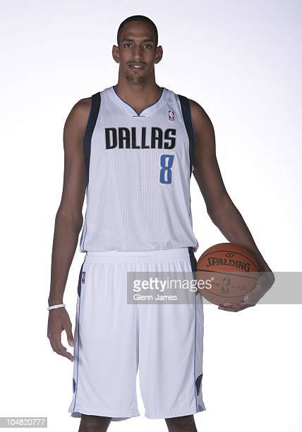 Alexis Ajinca of the Dallas Mavericks poses for a photo during the Mavericks Media Day on September 27, 2010 at the American Airlines Center in...