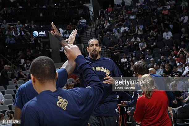 Alexis Ajinca of the New Orleans Pelicans before the game against the San Antonio Spurs on March 30 2016 at ATT Center in San Antonio Texas NOTE TO...