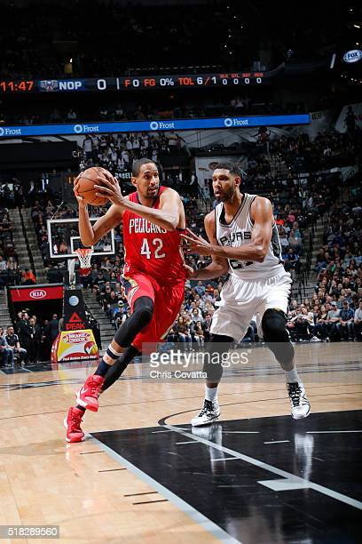 Alexis Ajinca of the New Orleans Pelicans drives to the basket against the San Antonio Spurs during the game on March 30 2016 at ATT Center in San...
