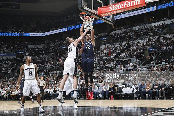 Alexis Ajinca of the New Orleans Pelicans dunks against San Antonio Spurs on December 18 2016 at the ATT Center in San Antonio Texas NOTE TO USER...