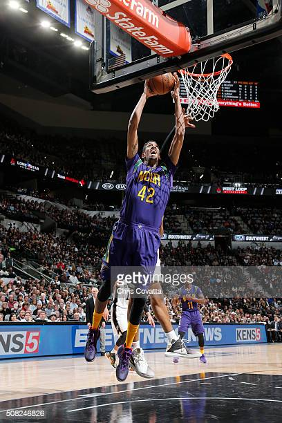 Alexis Ajinca of the New Orleans Pelicans goes up for a dunk against the San Antonio Spurs on February 3 2016 at the ATT Center in San Antonio Texas...