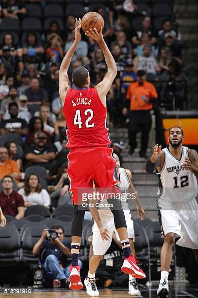 Alexis Ajinca of the New Orleans Pelicans shoots against the San Antonio Spurs during the game on March 30 2016 at ATT Center in San Antonio Texas...