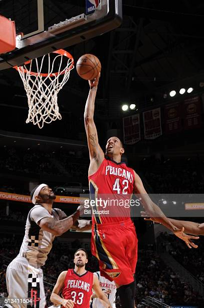 Alexis Ajinca of the New Orleans Pelicans shoots the ball against the Houston Rocketson March 2 2016 at the Toyota Center in Houston Texas NOTE TO...