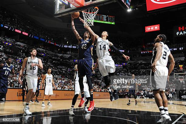 Alexis Ajinca of the New Orleans Pelicans shoots the ball against the San Antonio Spurs on December 18 2016 at the ATT Center in San Antonio Texas...
