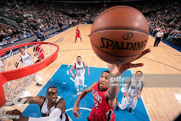 Alexis Ajinca of the New Orleans Pelicans the Dallas Mavericks on March 2, 2015 at the American Airlines Center in Dallas, Texas. NOTE TO USER: User...