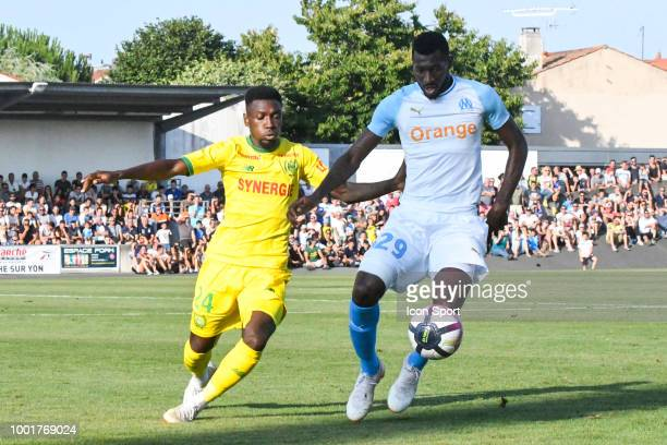 Alexis Alegue Elandi of Nantes and Andre Zambo Anguissa during the Friendly match between Marseille and Nantes on July 18 2018 in La RochesurYon...