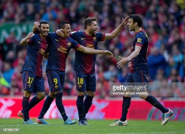 Alexis Alejandro Sanchez of FC Barcelona celebrates scoring their second goal with teammates Pedro Rodriguez Ledesma Jordi Alba and Cesc Fabregas...